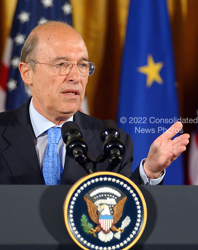 Prime Minister Constantine Simitis of Greece, Current European Union (EU) President , answers a reporter's question during his joint press conference with European Commission President Romano Prodi  and United States President George W. Bush in the East Room at the White House in Washington, DC on June 25, 2003..Credit: Ron Sachs / CNP