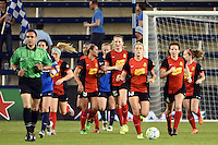 Kansas City, Kansas - Saturday April 16, 2016: Western New York Flash midfielder Samantha Mewis (5) celebrates after scoring on a penalty kick against FC Kansas City in the second half at Children's Mercy Park. Western New York won 1-0.