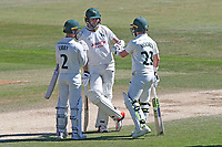 Tom Moores (R), his runner Jake Libby (L) and Harry Gurney out in the middle for Notts during Essex CCC vs Nottinghamshire CCC, Specsavers County Championship Division 1 Cricket at The Cloudfm County Ground on 22nd June 2018