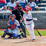 30 April 2017: Washington Nationals catcher Matt Wieters singles in the 4th inning against the New York Mets at Nationals Park in Washington, DC. The Nationals defeated the Mets 23-5, with the Nationals setting several individual and team records, in the third game of their weekend series. Mandatory Credit: Ed Wolfstein Photo *** RAW (NEF) Image File Available ***