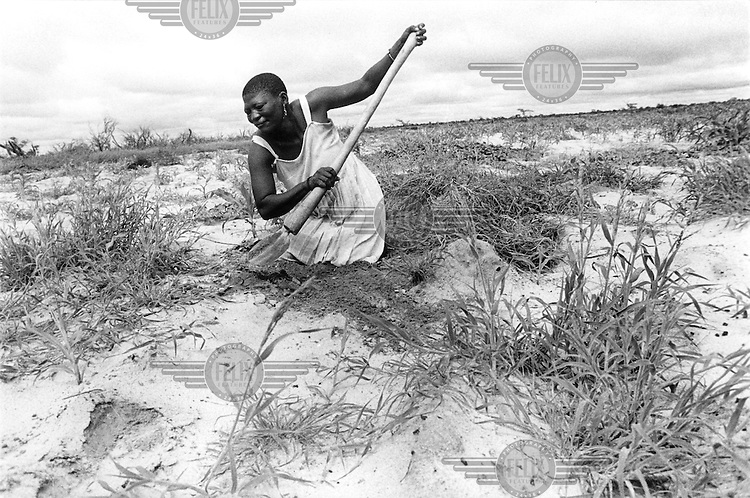 © Paul Weinberg / Panos Pictures..Molapo, Central Kalahari Game Reserve, Bushmanland, BOTSWANA..San Bushman woman working on her plot of land.
