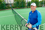 Tralee tennis Club coach, Tom Hennessy warming up for a game of tennis at the Tralee Tennis Club having reopened on Monday.