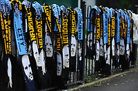 NEWPORT, WALES - FEBRUARY 16: Scarfs on show prior to  kick off for the FA Cup Fifth Round match between Newport County and Manchester City at the Rodney Parade on February 16, 2019 in Newport, Wales. (Photo by Athena Pictures/Getty Images)