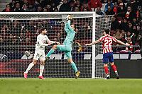 8th February 2020; Wanda Metropolitano Stadium, Madrid, Spain; La Liga Football, Atletico de Madrid versus Granada; Goalkeeper Jan Oblak (Atletico de Madrid) makes the save in front of Correa of Granada