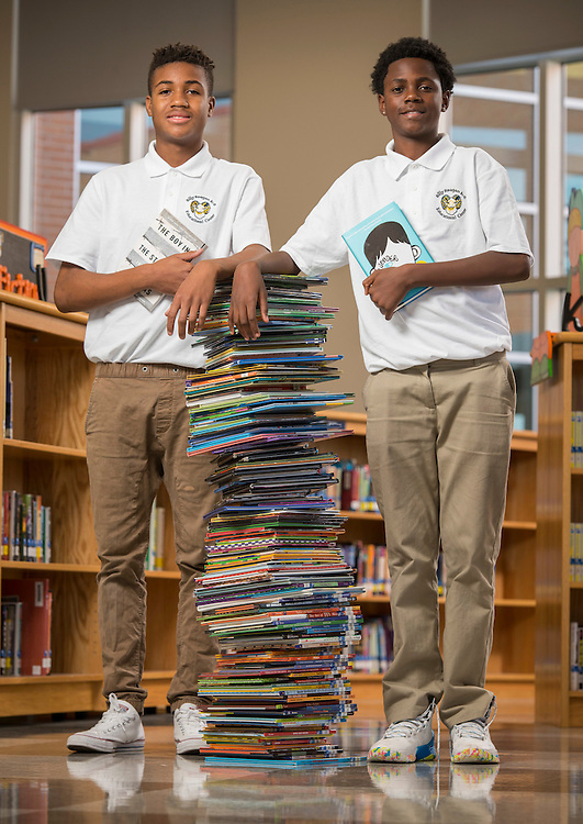 Deshaun James, left, and Alvin Gibson, right, pose for a photograph at Reagan K-8, January 20, 2017.