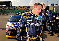 Sept. 26, 2008; Kansas City, KS, USA; Nascar Sprint Cup Series driver Michael McDowell during qualifying for the Camping World RV 400 at Kansas Speedway. Mandatory Credit: Mark J. Rebilas-