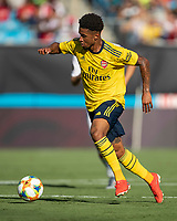 CHARLOTTE, NC - JULY 20: Reiss Nelson #24 during a game between ACF Fiorentina and Arsenal at Bank of America Stadium on July 20, 2019 in Charlotte, North Carolina.