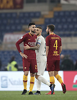 Football, Serie A: AS Roma - InterMilan, Olympic stadium, Rome, December 02, 2018. <br /> Inter's captain Mauro Icardi (c) greets Roma's Javier Pastore (l) and Bryan Cristante (r) at the end of the Italian Serie A football match between Roma and Inter at Rome's Olympic stadium, on December 02, 2018.<br /> The two teams draw 2-2.<br /> UPDATE IMAGES PRESS/Isabella Bonotto