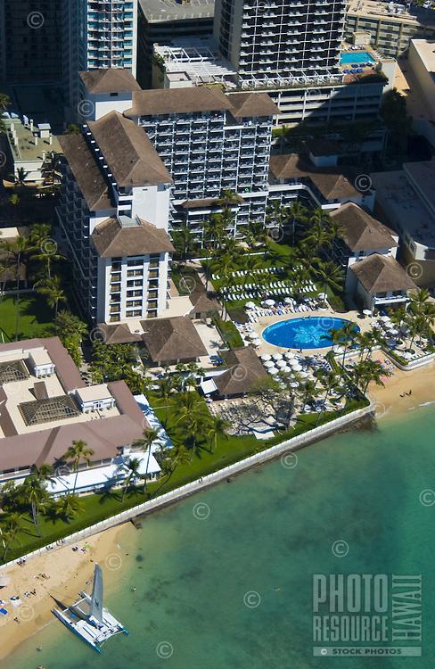 Aerial of  the Halekulani Hotel, Waikiki
