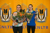 Rotterdam, The Netherlands, 15.03.2014. NOJK 14 and 18 years ,National Indoor Juniors Championships of 2014, Winner  girls 14 years: Gabriella Mujan (L) and runner up Stephanie Visscher<br /> Photo:Tennisimages/Henk Koster