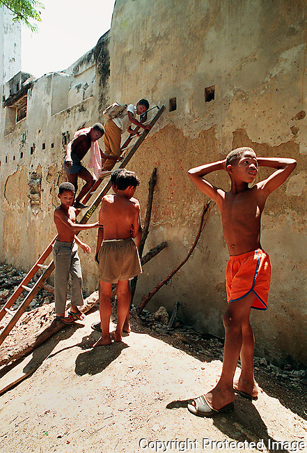 A group of boys play in a vacant lot in downtown Havana, Cuba, in spring 1993.(Brian Myrick)