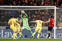 18th November 2019; Wanda Metropolitano Stadium, Madrid, Spain; European Championships 2020 Qualifier, Spain versus Romania;  Ciprian Tatarusanu (Romania) makes a save from Carvajal of Spain - Editorial Use