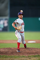 Auburn Doubledays relief pitcher Gilberto Chu (10) delivers a warmup pitch during a game against the Batavia Muckdogs on June 19, 2017 at Dwyer Stadium in Batavia, New York.  Batavia defeated Auburn 8-2 in both teams opening game of the season.  (Mike Janes/Four Seam Images)