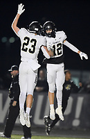 NWA Democrat-Gazette/CHARLIE KAIJO Bentonville Cooper Smith reacts after a score, Friday, November 8, 2019 during a football game at Bentonville West High School in Centerton.