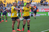 Ngani Laumape celebrates his (disallowed) try during the Super Rugby Aotearoa match between the Hurricanes and Highlanders at Sky Stadium in Wellington, New Zealand on Sunday, 12 July 2020. Photo: Dave Lintott / lintottphoto.co.nz
