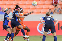 Houston, TX - Sunday June 19, 2016: Alex Arlitt, Desiree Scott, Chioma Ubogagu during a regular season National Women's Soccer League (NWSL) match between the Houston Dash and FC Kansas City at BBVA Compass Stadium.