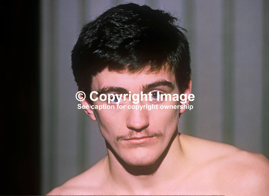 Barry McGuigan, from Clones, Co Cavan, Rep of Ireland, in 1982 in which year be won 7 fights, 7 of them with knockouts. He took British citizenship so that he could fight for British domestic titles. 198201006BMG1.<br /> <br /> Copyright Image from Victor Patterson, 54 Dorchester Park, Belfast, UK, BT9 6RJ<br /> <br /> t1: +44 28 9066 1296<br /> t2: +44 28 9002 2446<br /> m: +44 7802 353836<br /> <br /> e1: victorpatterson@me.com<br /> e2: victorpatterson@gmail.com<br /> <br /> www.victorpatterson.com<br /> <br /> IMPORTANT: Please see my Terms and Conditions of Use at www.victorpatterson.com