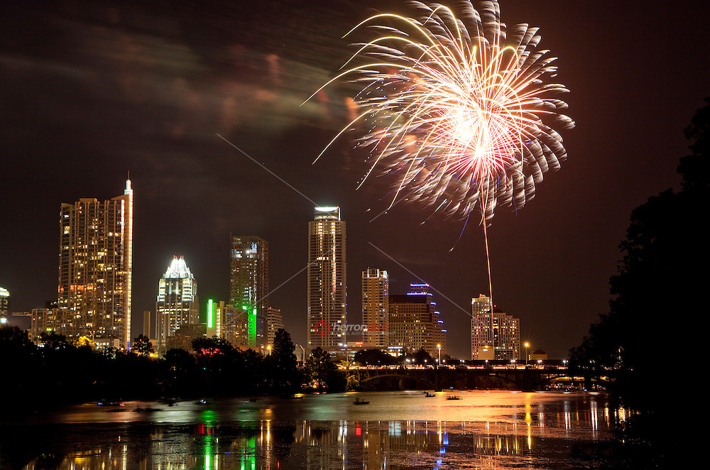 Independence Day Fireworks Celebration over Town Lake, Austin, Texas