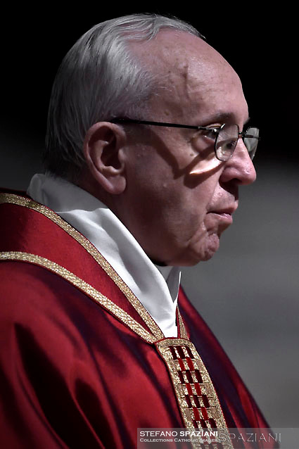 Pope Francis the ceremony of the Good Friday Passion of the Lord Mass in Saint Peter's Basilica at the Vatican.March 30, 2018