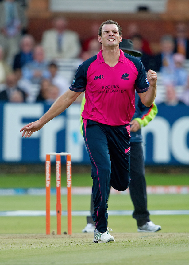 Middlesex Panthers' Kyle Mills<br /> <br />  (Photo by Ashley Western/CameraSport) <br /> County Cricket - Friends Life t20 2013 - Middlesex v Essex - Thursday 04th July 2013 - Lord's, London <br /> <br />  &copy; CameraSport - 43 Linden Ave. Countesthorpe. Leicester. England. LE8 5PG - Tel: +44 (0) 116 277 4147 - admin@camerasport.com - www.camerasport.com
