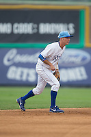 Burlington Royals shortstop Brian Bien (3) on defense against the Bluefield Blue Jays at Burlington Athletic Park on July 1, 2015 in Burlington, North Carolina.  The Royals defeated the Blue Jays 5-4. (Brian Westerholt/Four Seam Images)
