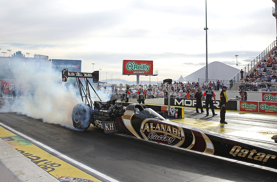 Apr. 5, 2013; Las Vegas, NV, USA: NHRA top fuel dragster driver Khalid Albalooshi during qualifying for the Summitracing.com Nationals at the Strip at Las Vegas Motor Speedway. Mandatory Credit: Mark J. Rebilas-