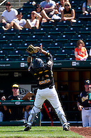 Chris O'Brien (22) of the Wichita State Shockers makes a play on a shallow foul ball during a game against the Missouri State Bears on April 9, 2011 at Hammons Field in Springfield, Missouri.  Photo By David Welker/Four Seam Images