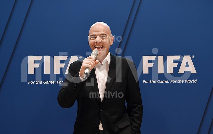 Fussball International 29.02.2016 Fussball International FIFA Praesident Gianni Infantino (Schweiz) erster Tag im Home of Fifa FIFA Praesident Gianni Infantino (Schweiz) beim FIFA Staff Meeting