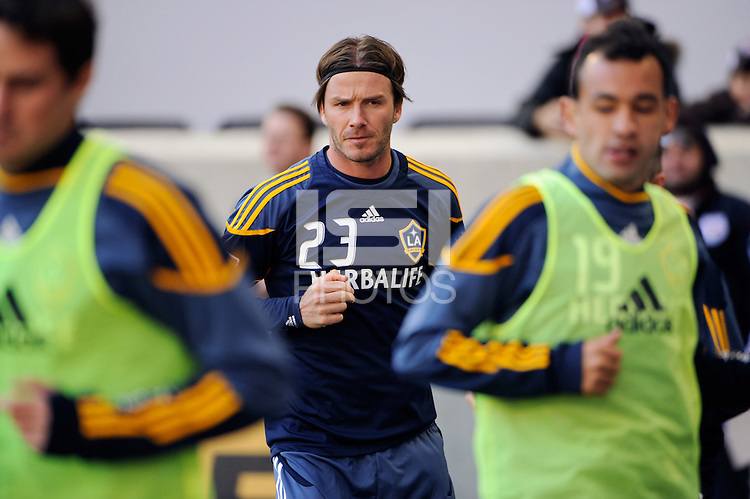 David Beckham (23) of the Los Angeles Galaxy warms up prior to the 1st leg of the Major League Soccer (MLS) Western Conference Semifinals against the New York Red Bulls at Red Bull Arena in Harrison, NJ, on October 30, 2011.
