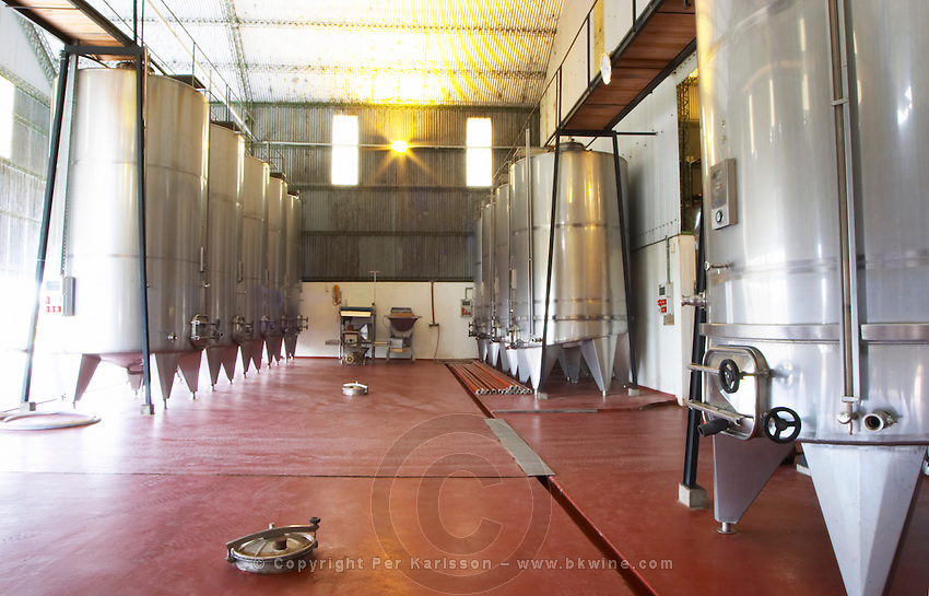 The winery with stainless steel tanks. Bodega Vinos Finos H Stagnari Winery, La Puebla, La Paz, Canelones, Montevideo, Uruguay, South America