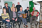Finuge Rambling House: Attending the Rambling Hose in the Thatch Cottage in Finuge on Friday night last were in front Mary Lynch, Con Fitzgerald, Mossie Dee, Paddy Heffernan & Tadgh O'Hallora. Back ; Peggie O'Connell, Margaret O'Connor & Christy Moriarity.