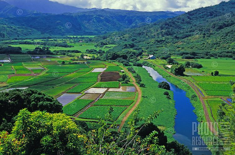 Hanalei Valley and river, North shore Kauai
