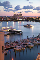 Palm Beach Florida, boats and water viewed from rooftop in West Palm Beach. The Breakers Hotel is in the background.