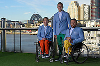 RM Williams Opening Ceremony outfit (L-R) Emma Booth, Jayden Sawyer and Kurt Fernley<br /> 2016 APC RIO Uniform Launch with the city of Sydney as the backdrop shot from the Star Casino<br /> Australian Paralympic Committee<br /> Star Casino / Sydney / NSW<br /> Monday 6 June 2016<br /> © Sport the library / Jeff Crow