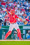 23 August 2015: Washington Nationals catcher Wilson Ramos in action against the Milwaukee Brewers at Nationals Park in Washington, DC. The Nationals defeated the Brewers 9-5 in the third game of their 3-game weekend series. Mandatory Credit: Ed Wolfstein Photo *** RAW (NEF) Image File Available ***