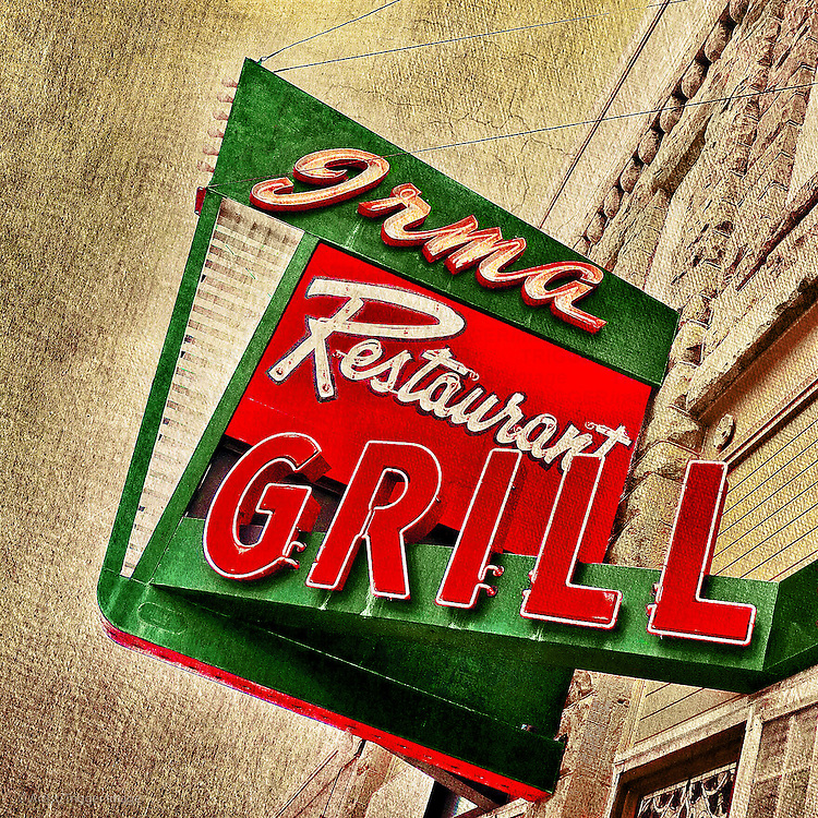 Vintage street sign for restaurant in USA
