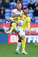 Bolton Wanderers' David Wheater competing with Blackburn Rovers'  Danny Graham<br /> <br /> Photographer Andrew Kearns/CameraSport<br /> <br /> The EFL Sky Bet Championship - Bolton Wanderers v Blackburn Rovers - Saturday 6th October 2018 - University of Bolton Stadium - Bolton<br /> <br /> World Copyright &copy; 2018 CameraSport. All rights reserved. 43 Linden Ave. Countesthorpe. Leicester. England. LE8 5PG - Tel: +44 (0) 116 277 4147 - admin@camerasport.com - www.camerasport.com