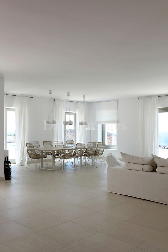 white minimal eating area