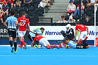 England goalkeeper George Pinner makes a block during the Hockey World League Semi-Final match between England and Argentina at the Olympic Park, London, England on 18 June 2017. Photo by Steve McCarthy.
