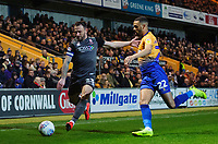 Lincoln City's Neal Eardley vies for possession with Mansfield Town's CJ Hamilton<br /> <br /> Photographer Chris Vaughan/CameraSport<br /> <br /> The EFL Sky Bet League Two - Mansfield Town v Lincoln City - Monday 18th March 2019 - Field Mill - Mansfield<br /> <br /> World Copyright © 2019 CameraSport. All rights reserved. 43 Linden Ave. Countesthorpe. Leicester. England. LE8 5PG - Tel: +44 (0) 116 277 4147 - admin@camerasport.com - www.camerasport.com