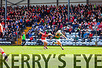 Barry John Keane Kerry in action against Tom Clancy Cork in the National Football League at Pairc Ui Rinn on Sunday.