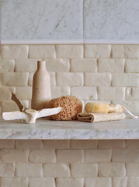 "Wall: 6"" x 12"" Field in Bianco Carrara Timeworn and 2"" x 4"" Bricks in Bianco<br /> Antico Timeworn.  Molding: Pencil in Calacatta Radiance Honed."