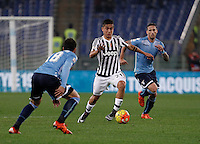 Calcio, Serie A: Lazio vs Juventus. Roma, stadio Olimpico, 4 dicembre 2015.<br /> Juventus&rsquo; Paulo Dybala, center, is challenged by Lazio&rsquo;s Santiago Gentiletti, left, and Lucas Biglia during the Italian Serie A football match between Lazio and Juventus at Rome's Olympic stadium, 4 December 2015.<br /> UPDATE IMAGES PRESS/Isabella Bonotto