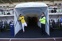 Saturday, 15 March 2014<br /> Pictured: Michu of Swansea (L) just before he comes out of the tunnel to warm up.<br /> Re: Barclay's Premier League, Swansea City FC v West Bromwich Albion at the Liberty Stadium, south Wales, UK.