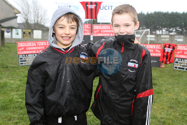 Finn Clancy and Lennon McCormack at the Turning of the First Sod for the New Clubhouse for Drogheda Town Football Club at Marion Park...(Photo credit should read Jenny Matthews/NEWSFILE)...