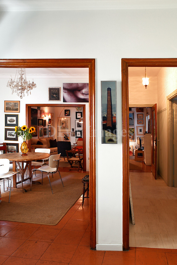 traditional dining room with artworks