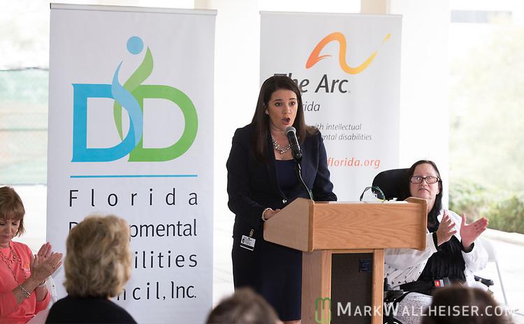 Florida Senator Anitere Flores speaks during the Developmental Disabilities Awareness Day 2017 at the Florida Capitol sponsored by the Florida Developmental Disabilities Council, Inc and The Arc of Florida.