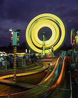 Ferris Wheel & Carnival Rides at Night, Waimanalo, Oahu, Hawaii, USA.