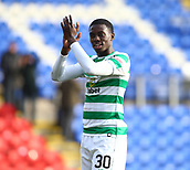 3rd February 2019, McDiarmid Park, Perth, Scotland; Ladbrokes Premiership football, St Johnston versus Celtic;  Timothy Weah of Celtic applauds the supporters