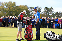 Padraig Harrington (IRL) smiles after he made a birdie on the 2nd during Round 2 of the Sky Sports British Masters at Walton Heath Golf Club in Tadworth, Surrey, England on Friday 12th Oct 2018.<br /> Picture:  Thos Caffrey | Golffile<br /> <br /> All photo usage must carry mandatory copyright credit (&copy; Golffile | Thos Caffrey)